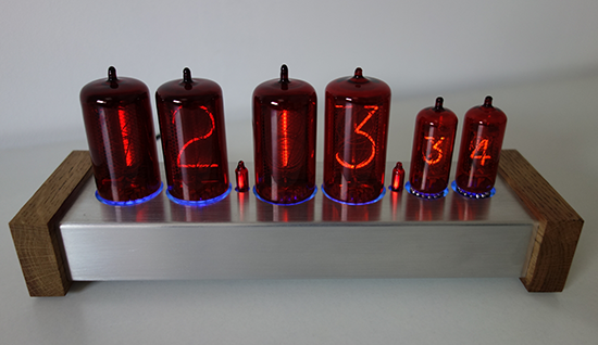"nixie clock with 1,2"" (Z566M) and 0,5"" (Z573M) digit height"