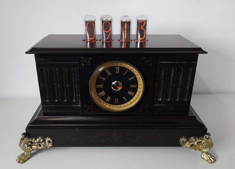 "nixie clock with 1,6"" digit height (IN-18) and dekatron tube (OG-4)"