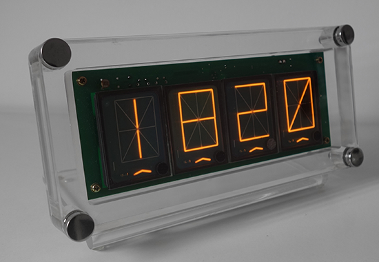 "14 segment panaplex clock and ""four letter word generator"" with 1,6"" symbol height (ZM1350)"
