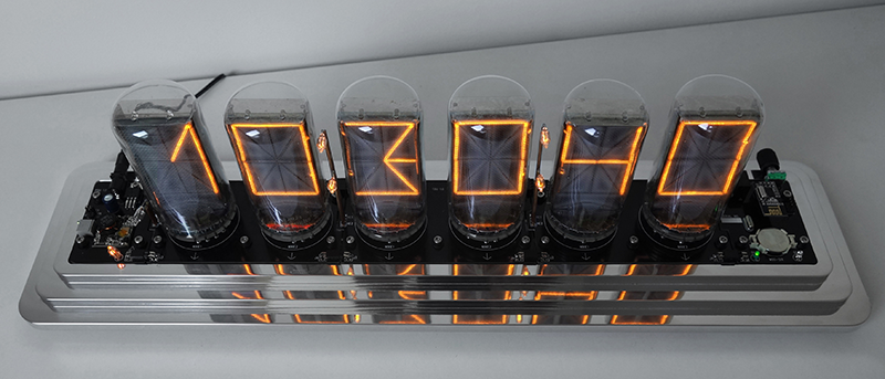 "14 segment nixie clock, thermo-, hygro-, barometer with 2,5"" symbol height (B-7971)"